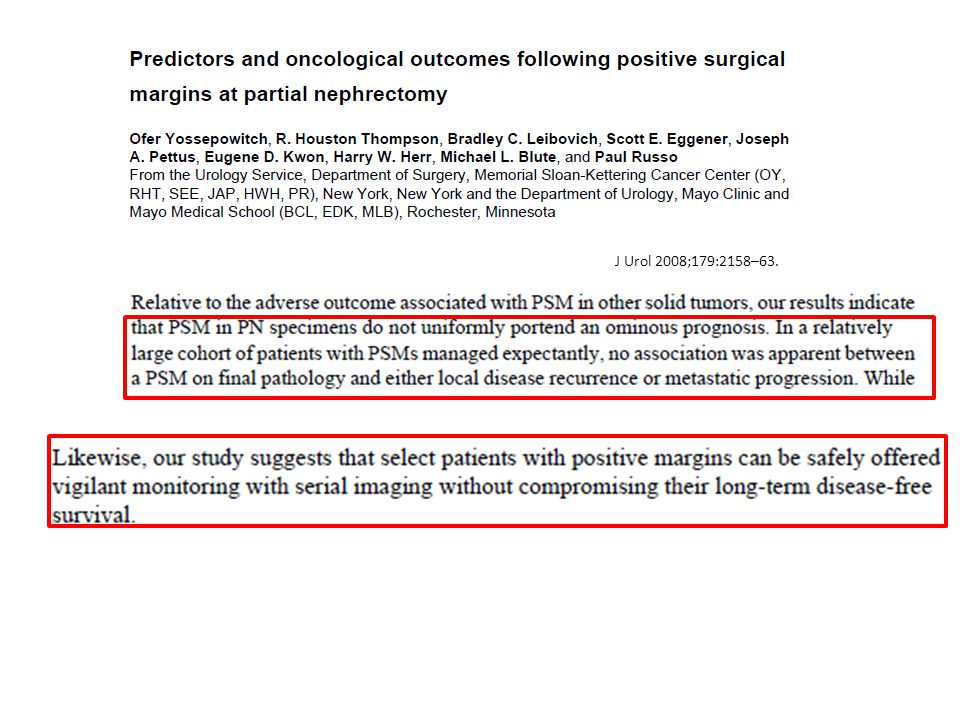 5050 [49] Yossepowitch O, Thompson RH, Leibovich BC, et al. Positive surgical. margins at partial nephrectomy: predictors and oncological outcomes.